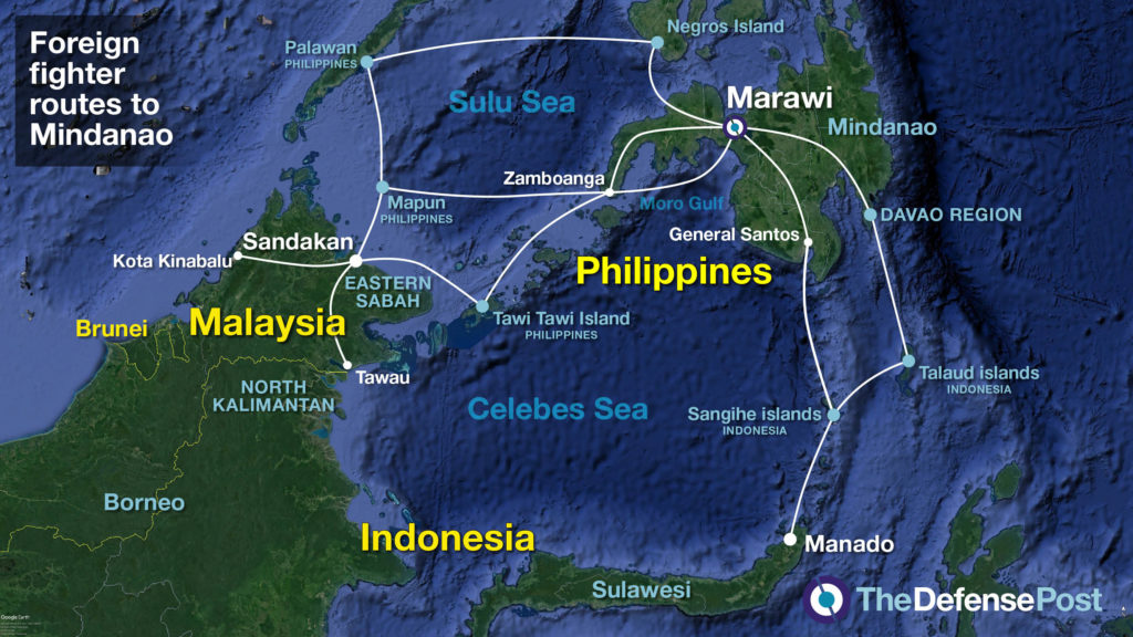 Routes to Mindanao in the Philippines from Malaysia and Indonesia