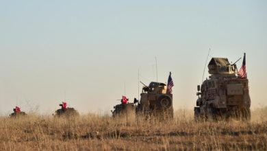 Turkish and US military vehicles apparently near Manbij, Syria