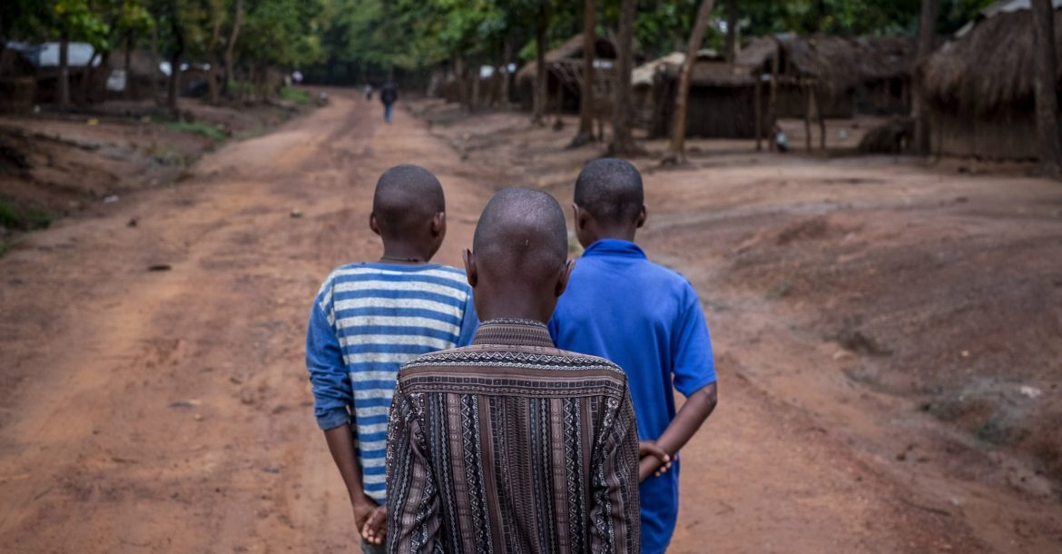 Three former child soldiers at Elevage camp in Bambari, Central African Republic