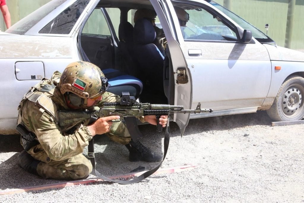 Weapons training exercise at the Russian University of Spetsnaz (Special Operations Forces) in the Chechen Republic