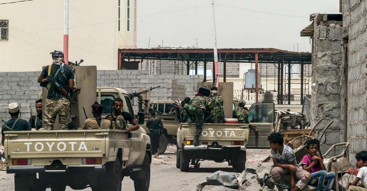 Al-Qaeda fighters in Aden, Yemen