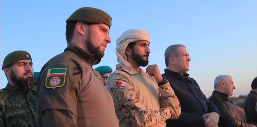 Bahrain Prince Nasser bin Hamad Al Khalifa (center) with Daniil Martynov, head trainer of Chechen spetsnaz (foreground) and Ziad Sabsabi, head envoy of Chechnya to the Middle East (right background)