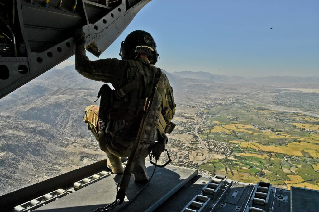 US Army soldier over Afghanistan