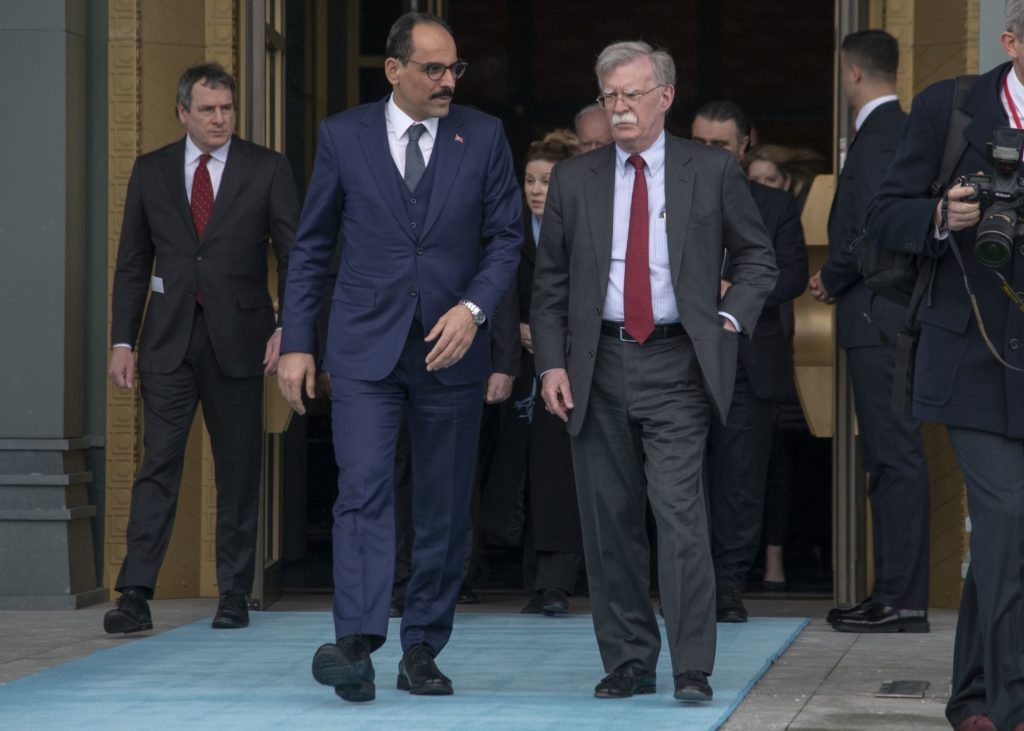 US National security adviser John Bolton meets with Turkish national security adviser Ibrahim Kalin at the Presidential Complex in Ankara, Turkey,