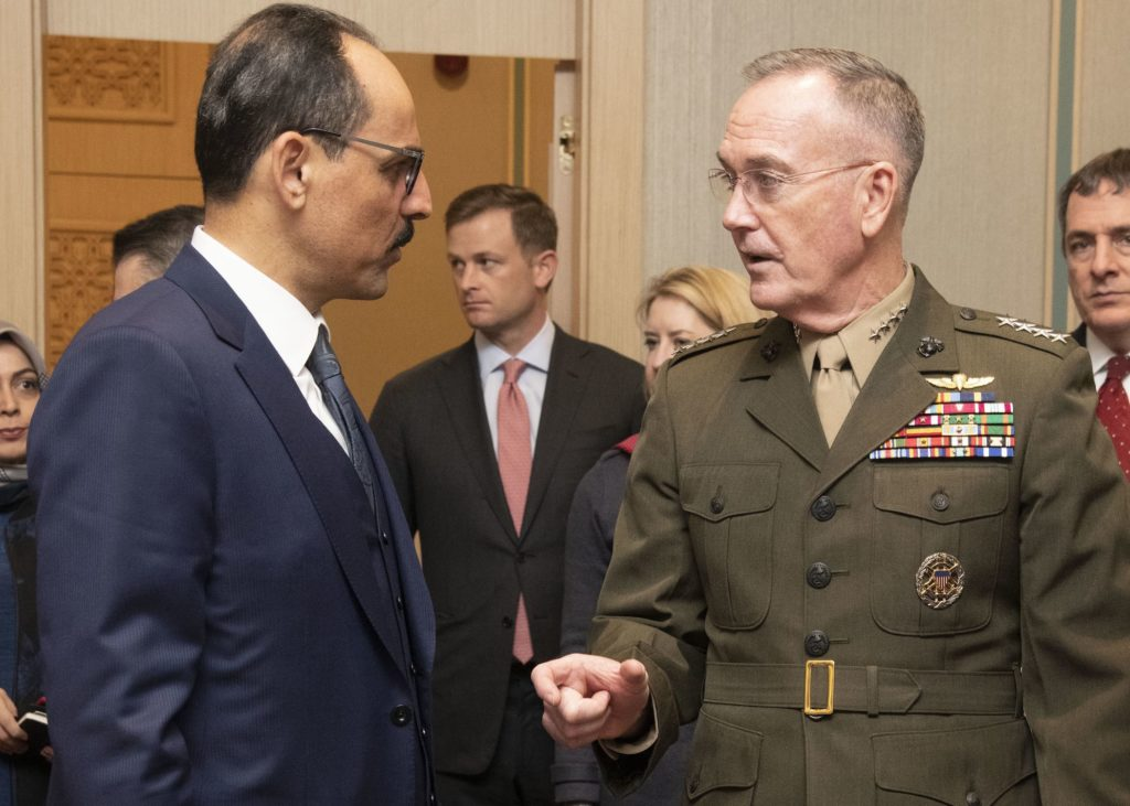 US Marine Corps General Joe Dunford, chairman of the Joint Chiefs of Staff, meets with Turkish national security adviser Ibrahim Kalin in Turkey