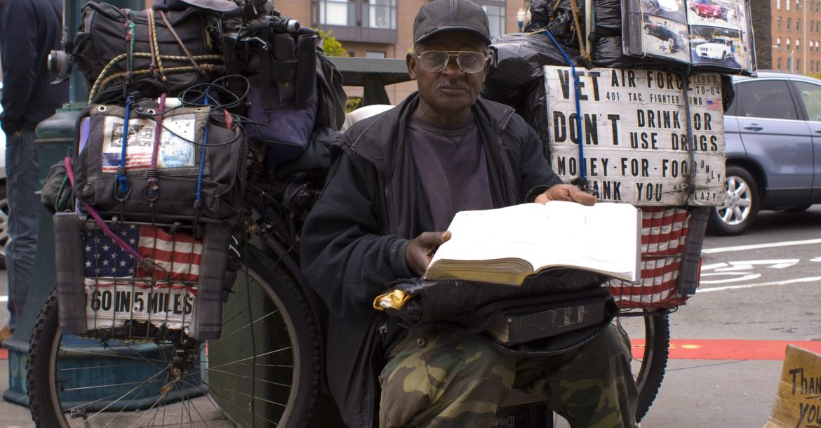 A homeless US military veteran in San Francisco, California