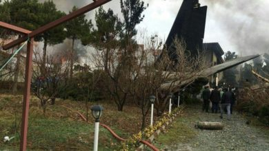 Aftermath of an Iran army Boeing 707 cargo plane crash near Tehran