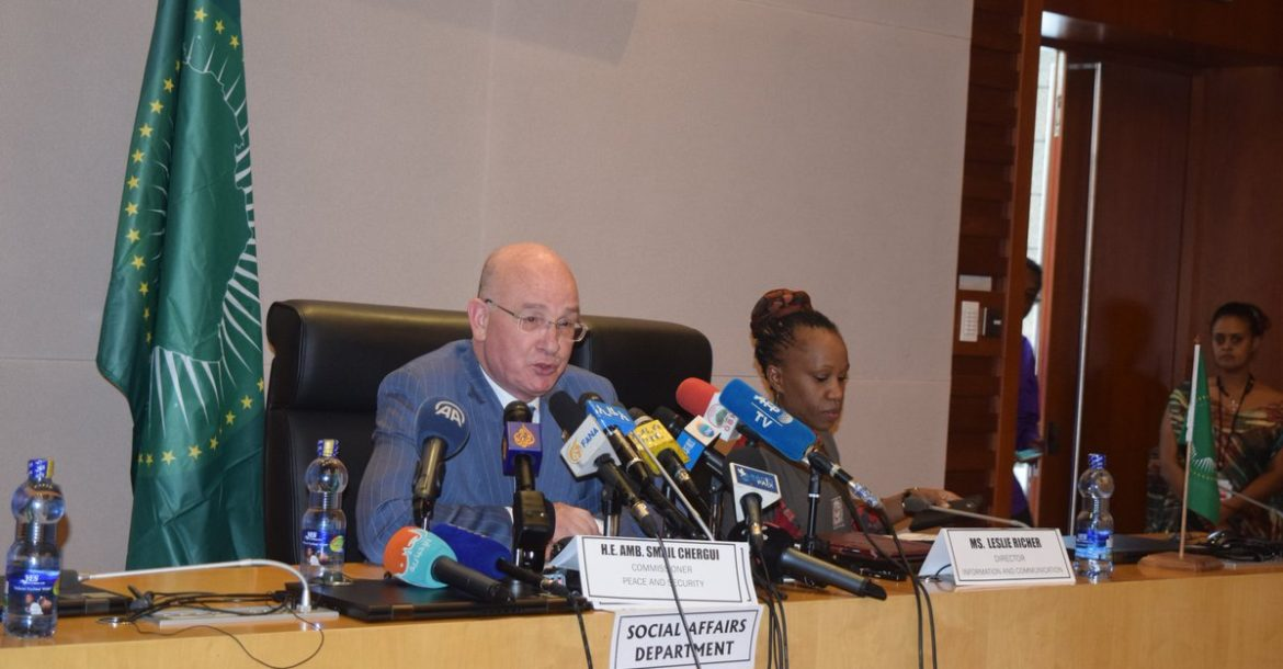 Ambassador Smail Chergui answering a question during his press conference