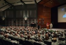 General Mark A. Welsh, III, 20th Chief of Staff of the US Air Force, addresses faculty, staff and students