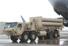 A US Air Force Airmen offloads a THAAD system in Israel