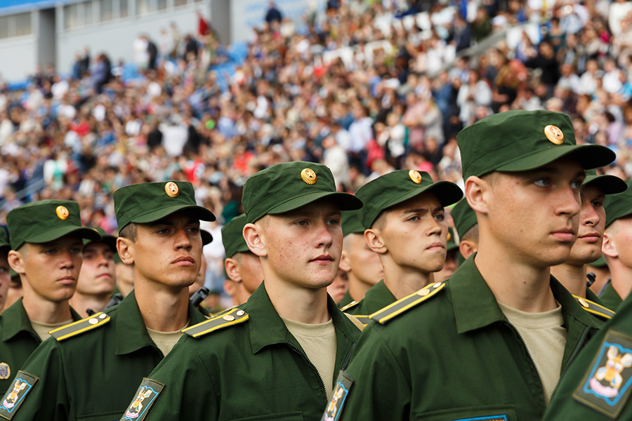 Cadet graduation ceremony at the Mozhaysky Military-Space Academy in St. Petersburg, Russia