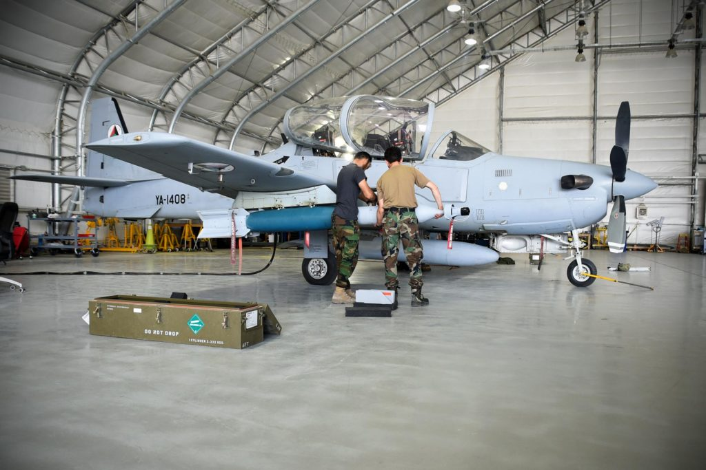 Afghan Air Force A-29 maintainers