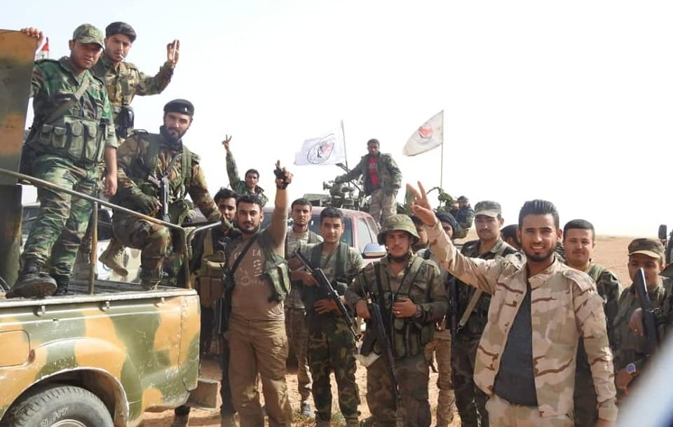 Syrian National Defense Forces militia members during a joint operation with Iraqi Popular Mobilization Units