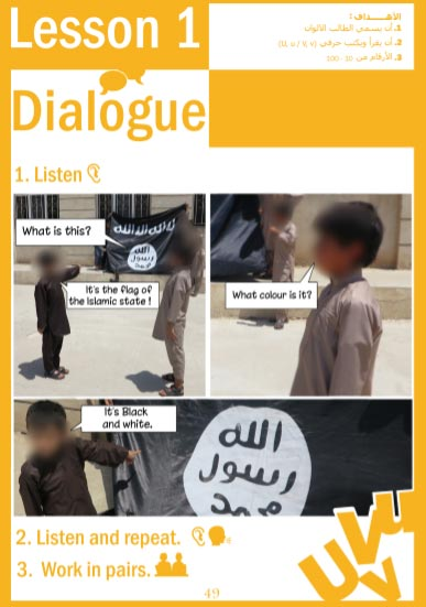 Islamic State English textbook for schools – dialogue on the flag