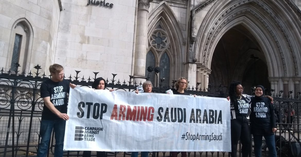 CAAT campaigners await the verdict in a court case to halt the sale of UK weapons to Saudi Arabia
