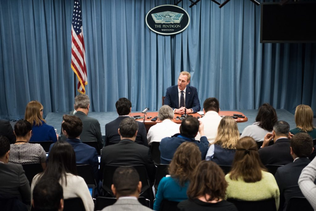 Acting US Secretary of Defense Patrick M. Shanahan speaks to reporters during an off camera press gaggle at the Pentagon