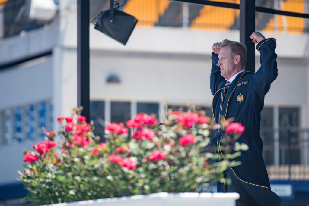 US Acting Secretary of Defense Patrick M. Shanahan speaks at the US Naval Academy's 2019 class graduation