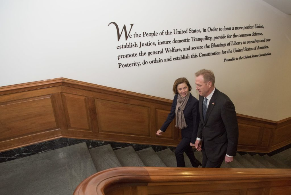 Acting US Secretary of Defense Patrick M. Shanahan meets with the French Minister of the Armed Forces Florence Parly