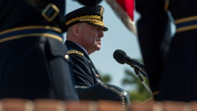 General Milley speaks during Chief of Staff change of responsibility ceremony