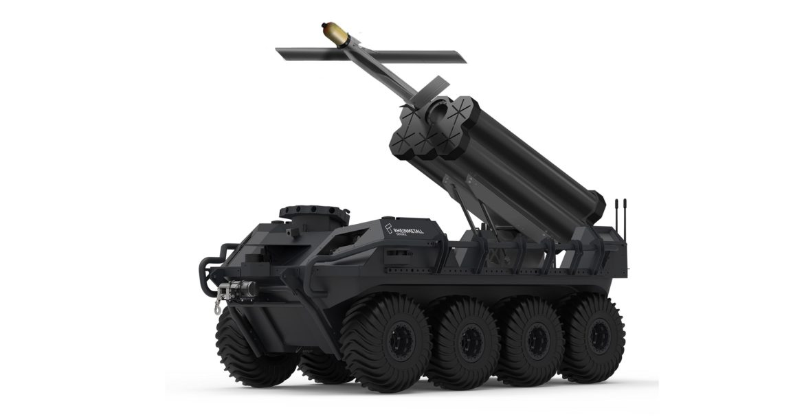 Rheinmetall Mission Master UGV fitted with Warmate UAVs