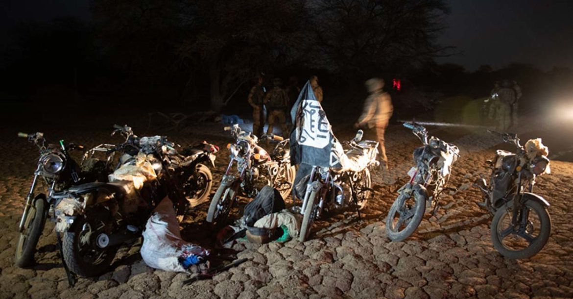 Motorbikes and ISIS flags captured during joint operations in the Sahel