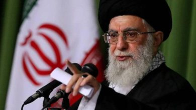 Iran's supreme leader, Ayatollah Ali Khamenei, speaks during a ceremony in Tehran
