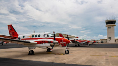 A line of Navy T-44C Pegasus' parked on the flightline aboard Naval Air Station Corpus Christi on July 23, 2019, in Texas