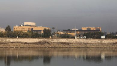 A general view shows the US embassy across the Tigris river in Iraq's capital Baghdad on January 3, 2020.