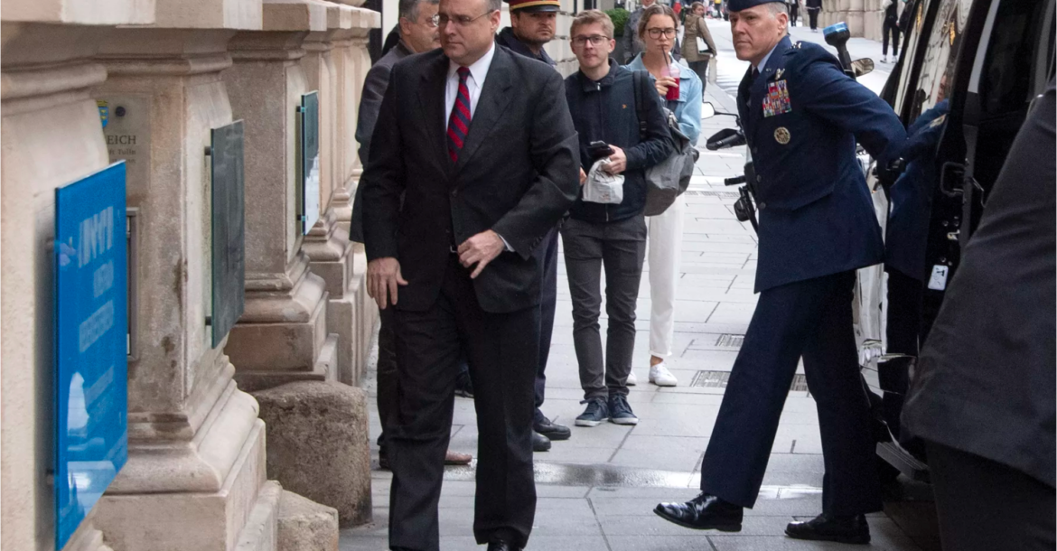 Marshall Billingslea, special presidential envoy for arms control, arrives for the US-Russia meeting at the Palais Niederoestereich in Vienna on June 22, 2020.