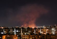 Smoke billows following an alleged Israeli airstrike targeting south of Damascus, Syria, on July 20, 2020