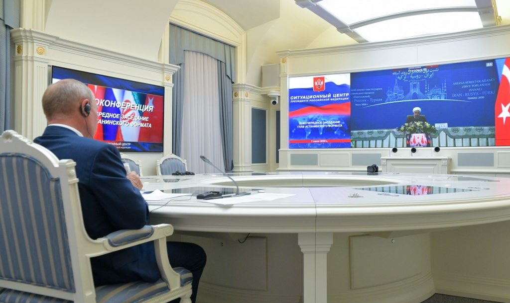 Russian President Putin video conferencing