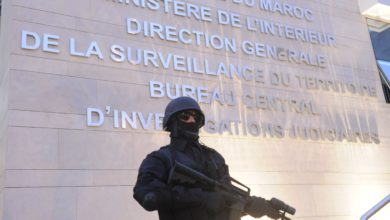 A member of the Moroccan special forces guard stands outside of the Central Bureau of Judicial Investigation (BCIJ) building