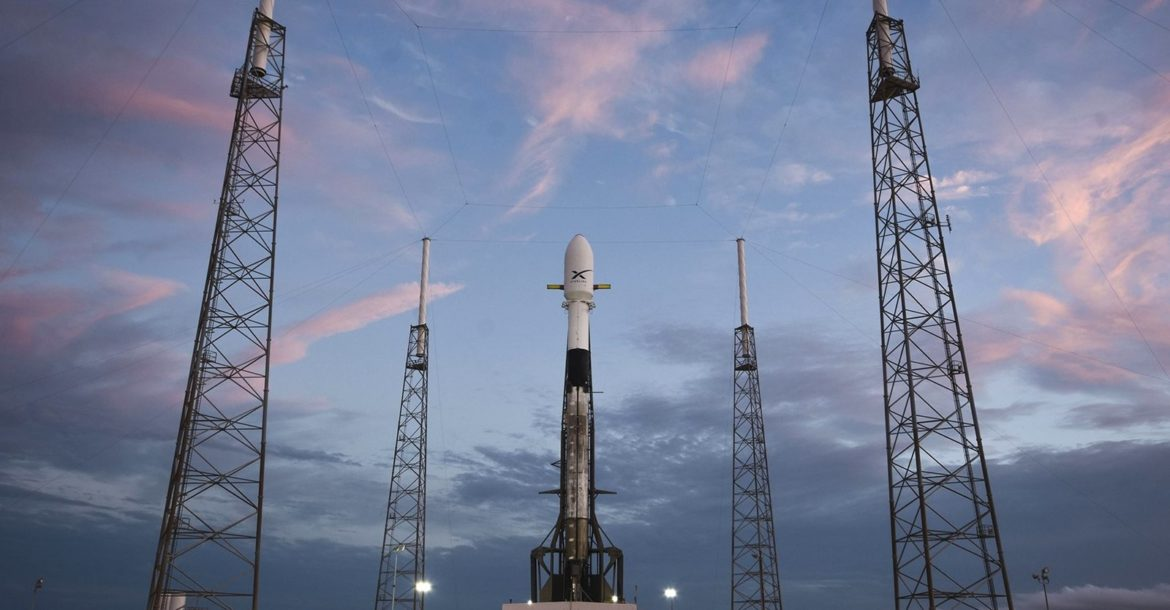 A FALCON 9 rocket is shown a day before the launch of SpaceX's first 60 Starlink satellites at Cape Canaveral, Fla., in May