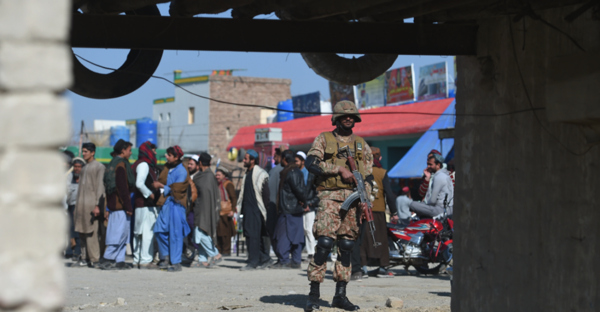 A Pakistani army soldier stands guard at a market in Miran Shah, a town in North Waziristan, near the border between Pakistan and Afghanistan, Jan. 27, 2019