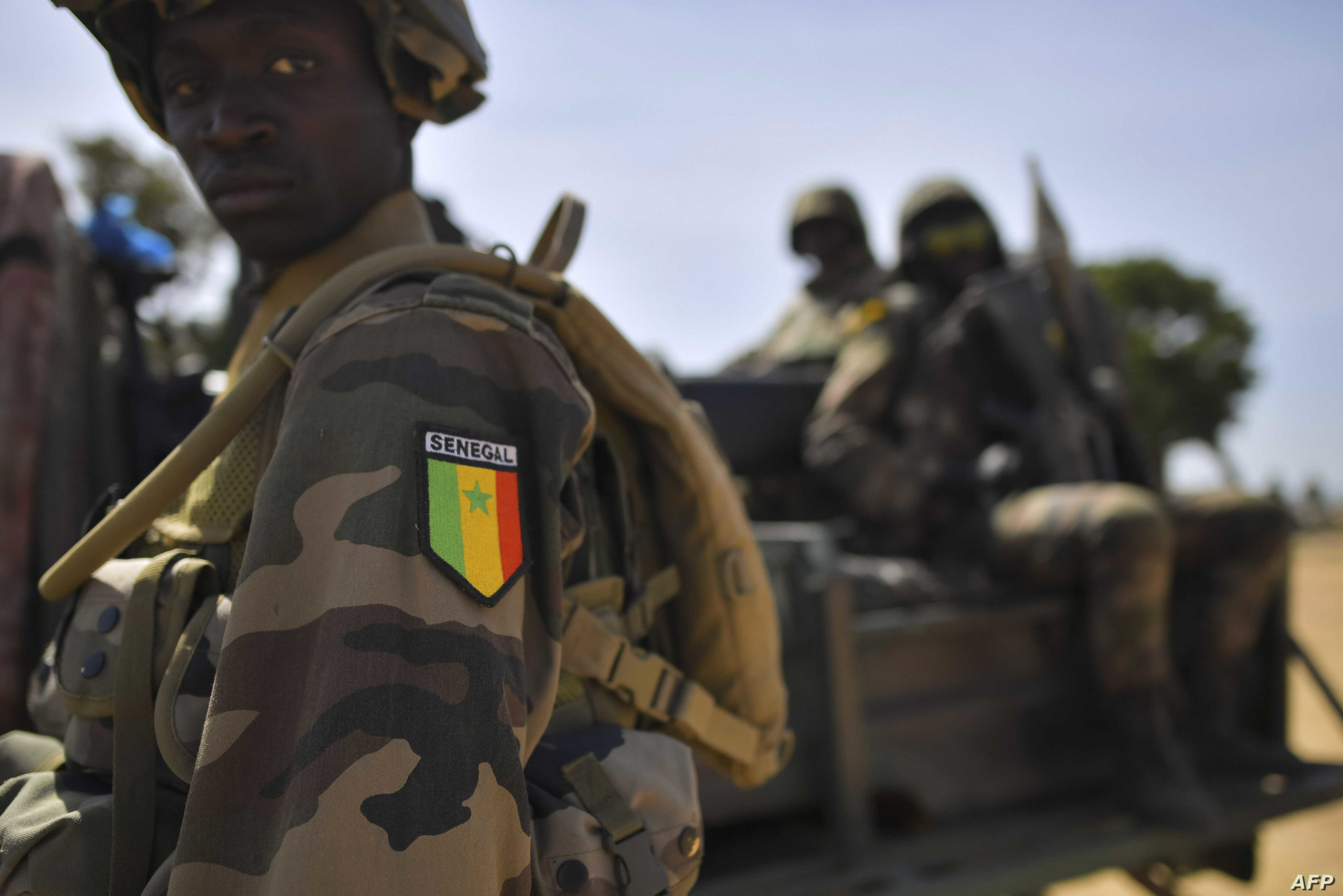 Senegalese soldiers members of ECOWAS forces (Economic Community of West African States) patrol in Barra, on January 22, 2017.