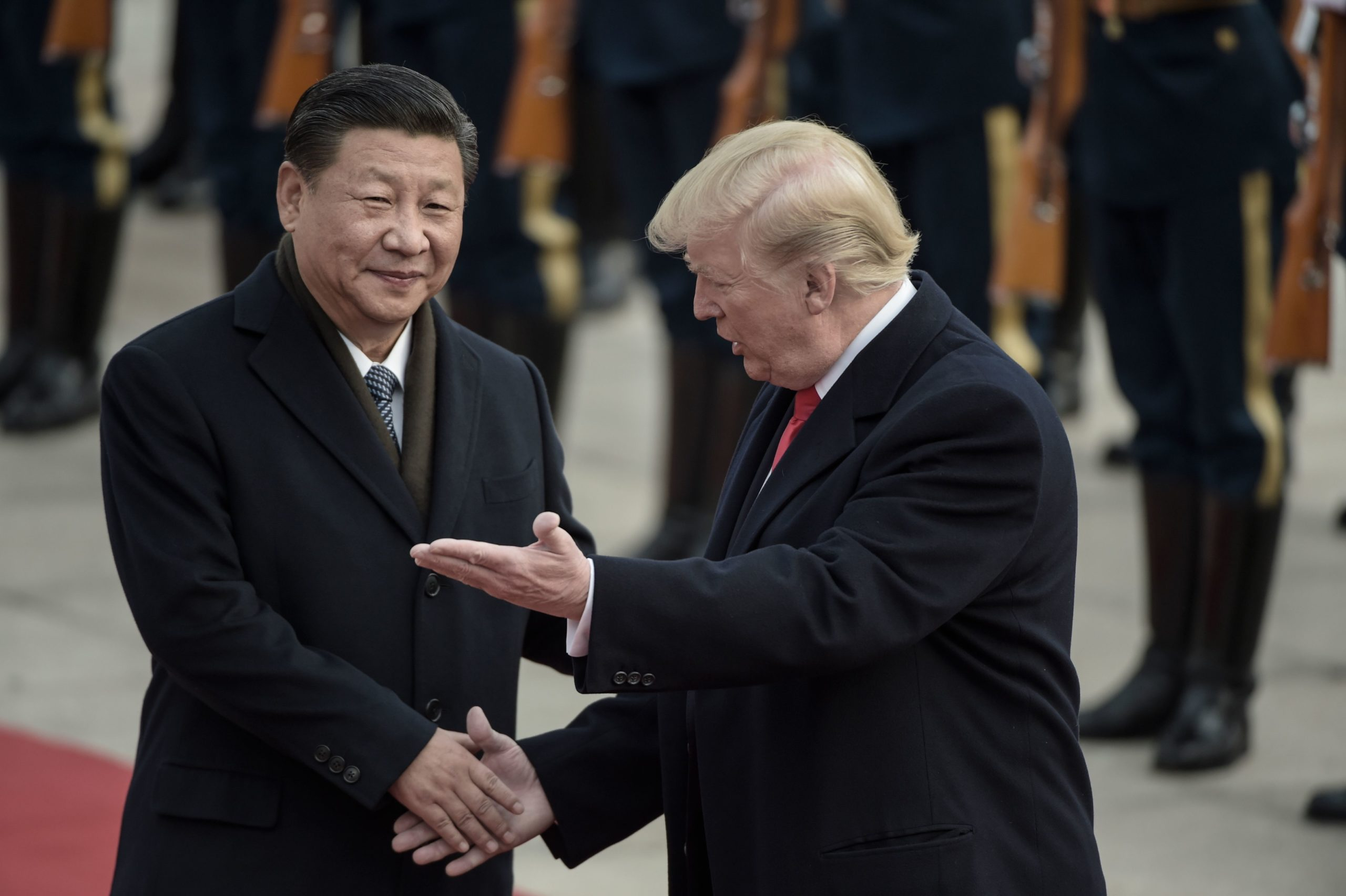 Chinese President Xi Jinping and US President Donald Trump shaking hands at a welcome ceremony at the Great Hall of the People in Beijing in 2017.