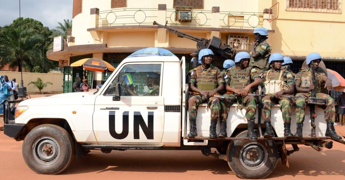 A vehicle of the UN peacekeeping mission in Central African Republic on December 9, 2014.