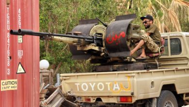 UN-recognized Libyan Government of National Accord (GNA) fighters clash with forces loyal to strongman Khalifa Haftar south of Tripoli on June 1, 2020.