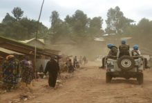 Military vehicle carrying UN forces in DR Congo.