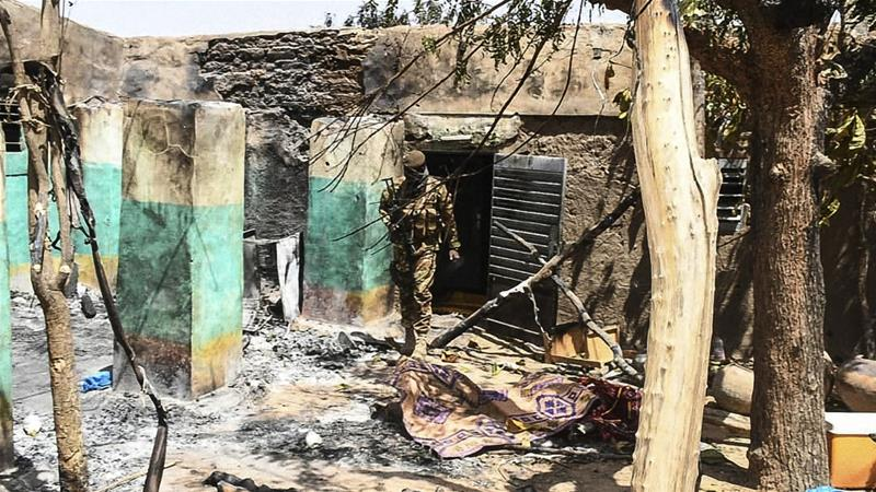 A village house destroyed in an attack in central Mali.