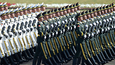 Chinese soldiers march on.