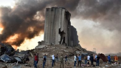 A destroyed silo at the scene of an explosion at the port in the Lebanese capital Beirut, on August 4, 2020.