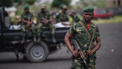 Congolese army soldiers on patrol.