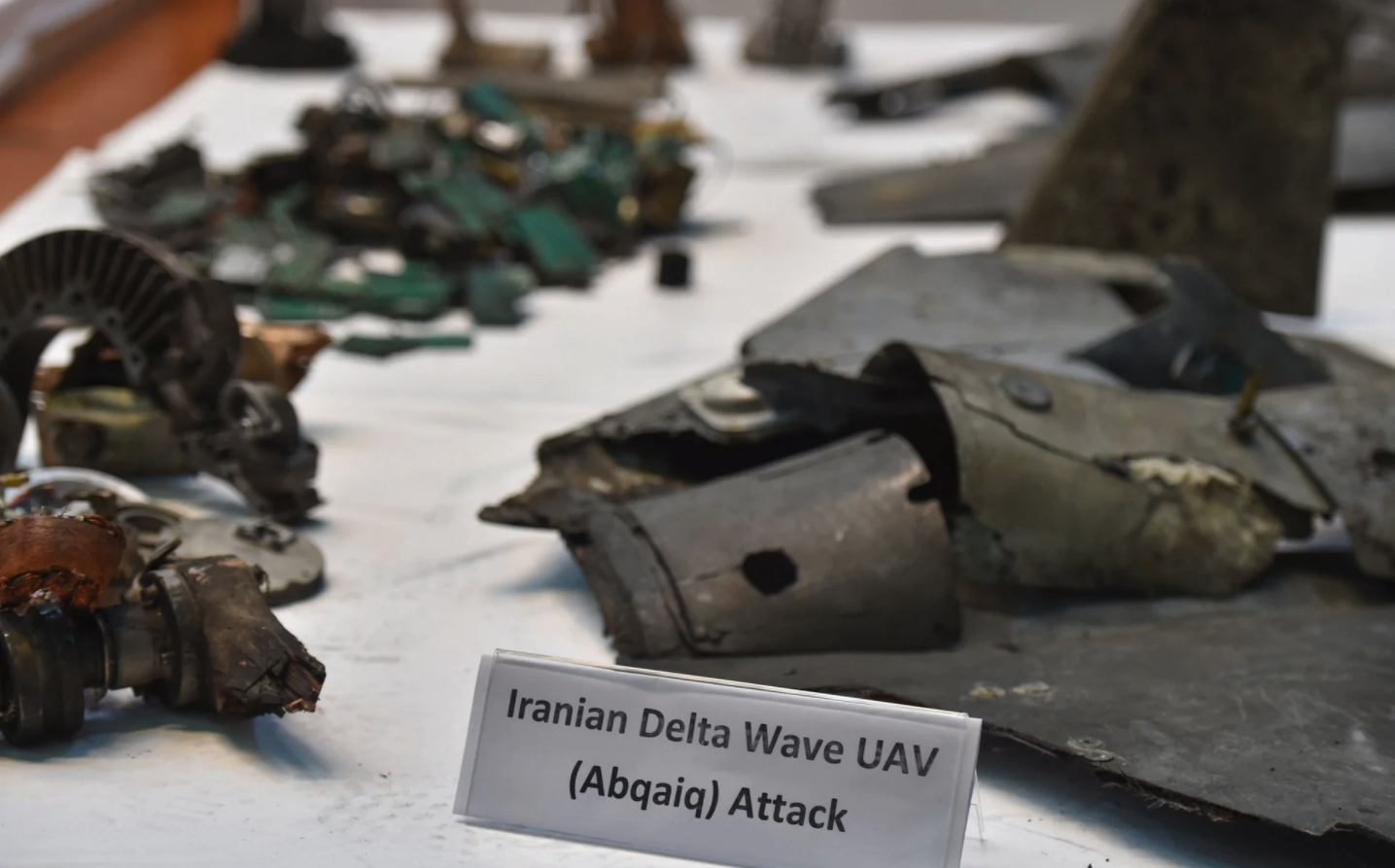 A picture taken on September 18, 2019 shows displayed fragments of what the Saudi defence ministry spokesman said were Iranian cruise missiles and drones