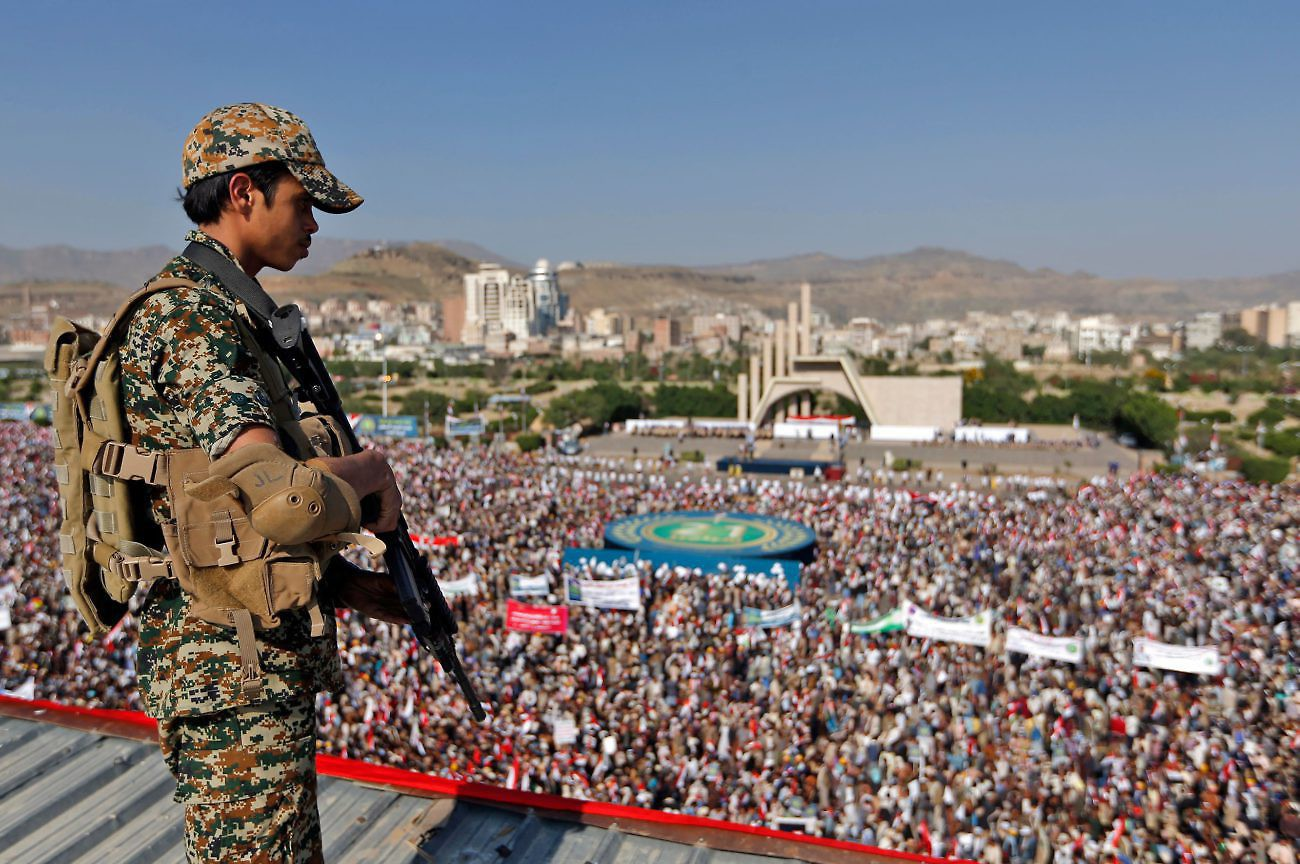 Tens of thousands of supporters of Yemen's Iran-backed Houthi rebel movement gather in the capital Sanaa on September 21, 2017 to mark the third anniversary of the rebel takeover. Photo: Mohammed Huwais/AFP.