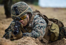 A US Marine takes position during the joint Cobra Gold exercise in the coastal Thai province of Rayong on February 28, 2020