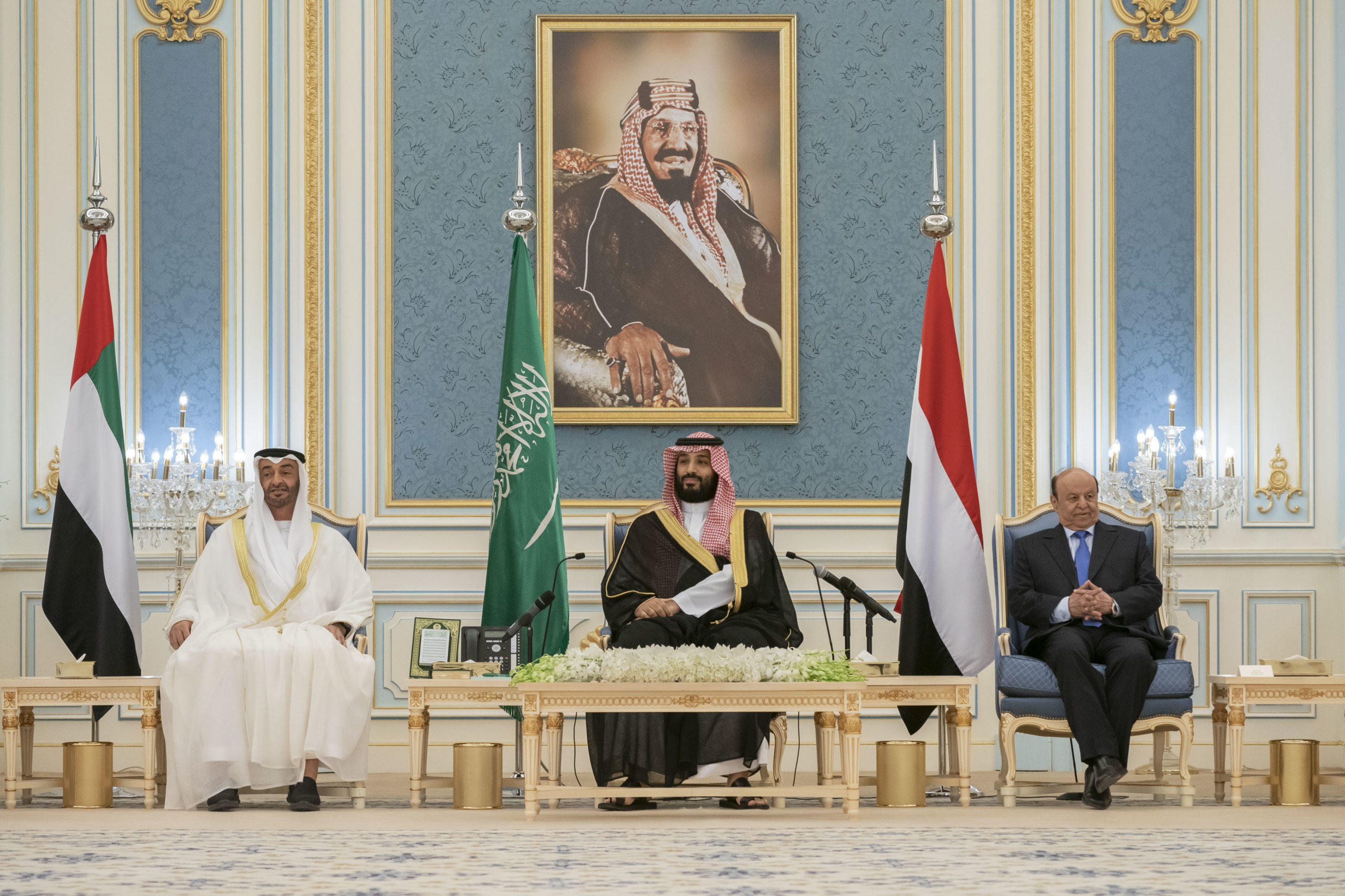 Crown Prince of Abu Dhabi Sheikh Mohamed bin Zayed al-Nahyan (left), Saudi Crown Prince Mohammed bin Salman and Yemen's President Abedrabbo Mansour Hadi (right) attend a peace-signing ceremony between the Saudi-backed Yemeni government and the southern separatists in Riyadh, Saudi Arabia in November 2019. Photo: Hamad al-Kaabi/AFP.