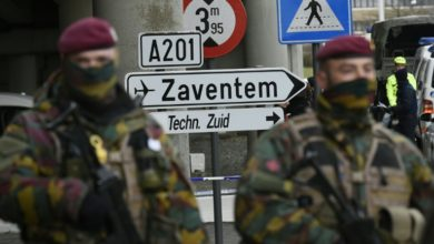Soldiers control an access to Brussels airport, on March 29, 2016 in Zaventem, one week after the Islamic State attacks in Brussels