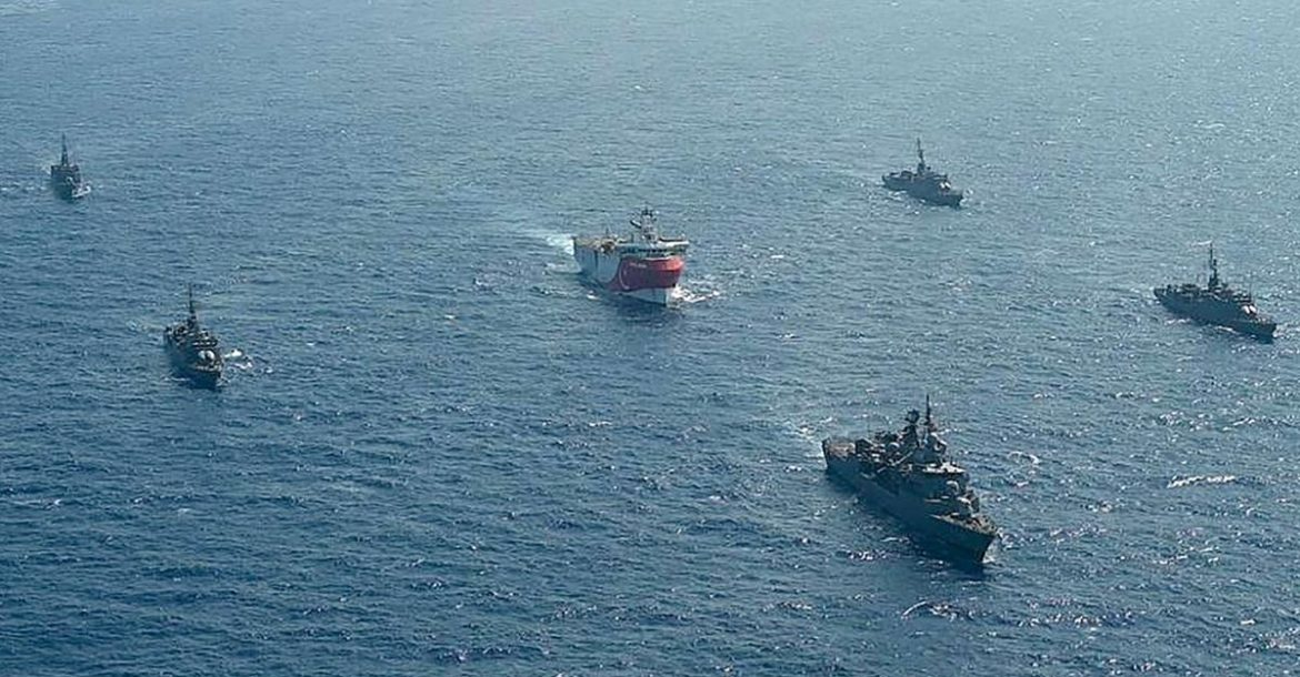 The Turkish seismic research vessel 'Oruc Reis' is escorted by Turkish naval ships in the Mediterranean Sea. AFP