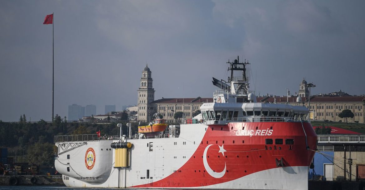 A view of Turkish General Directorate of Mineral research and Exploration's (MTA) Oruc Reis seismic research vessel docked at Haydarpasa port, which searches for hydrocarbon, oil, natural gas and coal reserves at sea, on 23 August 2019.